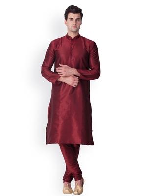 Maroon Solid  Art Silk  Designer Men's Kurta Pyjama