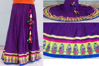 Purple flared cotton long skirt