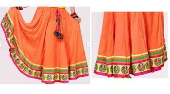 Peach cotton long skirt