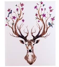 Stag Horn with Floral Design Canvas Painting