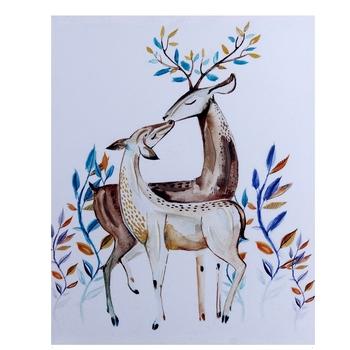 Love Pair Deer Canvas Wall Painting