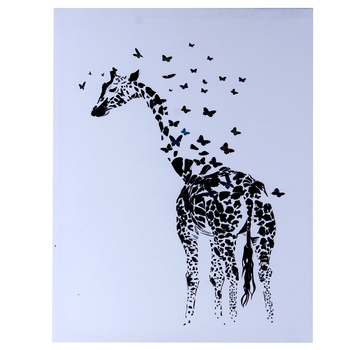 Scattered Butterfly Cum Giraffe Canvas Painting