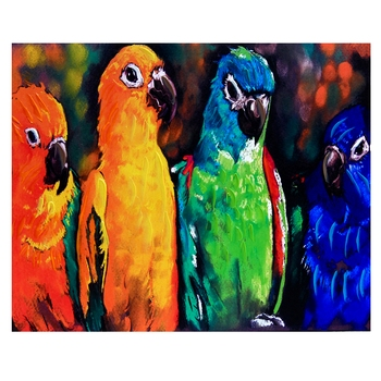 Deep Multicolor Parrots Canvas Painting