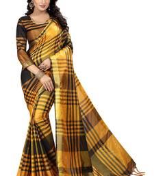 Buy Black woven cotton silk saree with blouse ikat-saree online