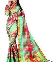 Buy Red woven cotton silk saree with blouse ikat-saree online