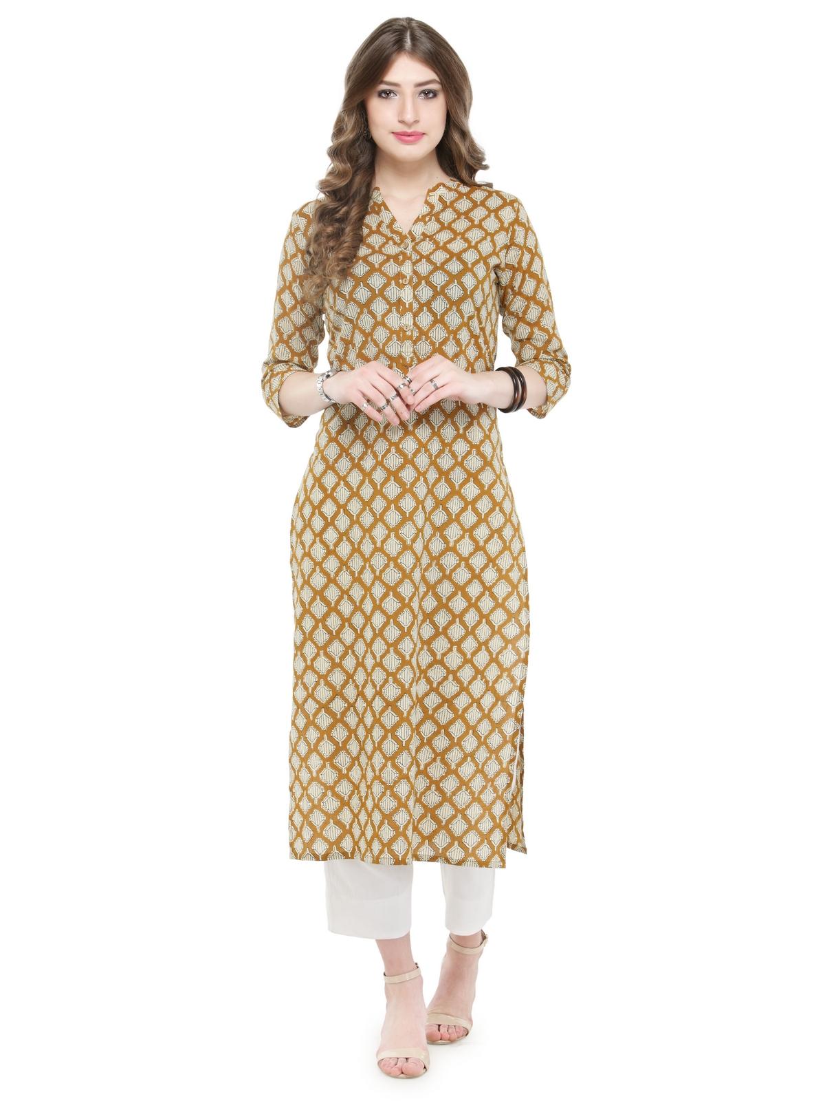 0aefad3539 Mustard Straight Cotton stitched kurti - Varanga - 2548726