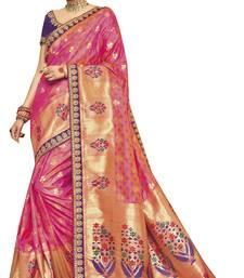 Buy Pink woven silk saree with blouse silk-saree online