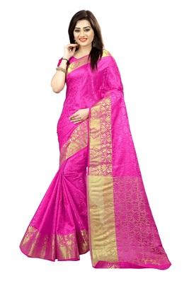 16191d7eb56b20 Pink printed tussar silk saree with blouse - Mahadev Enterprises ...