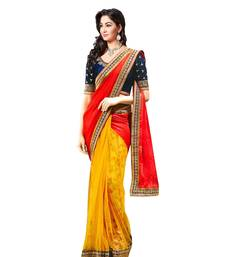 Buy Red yellow & multicolor embroidered SATIN   CHIFFON NET GEORGETTE saree wedding-saree online