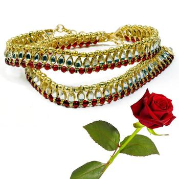 Designer Kundan Brass Payal Anklet Valentine Gift