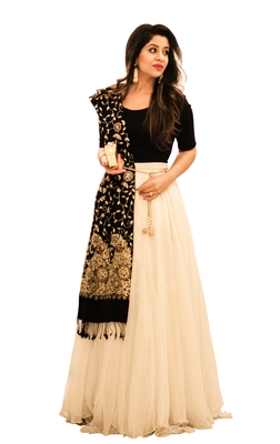 Designer White and Black Georgette Lehenga choli