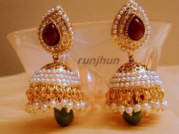 gorgeous pearl polki jhumki's