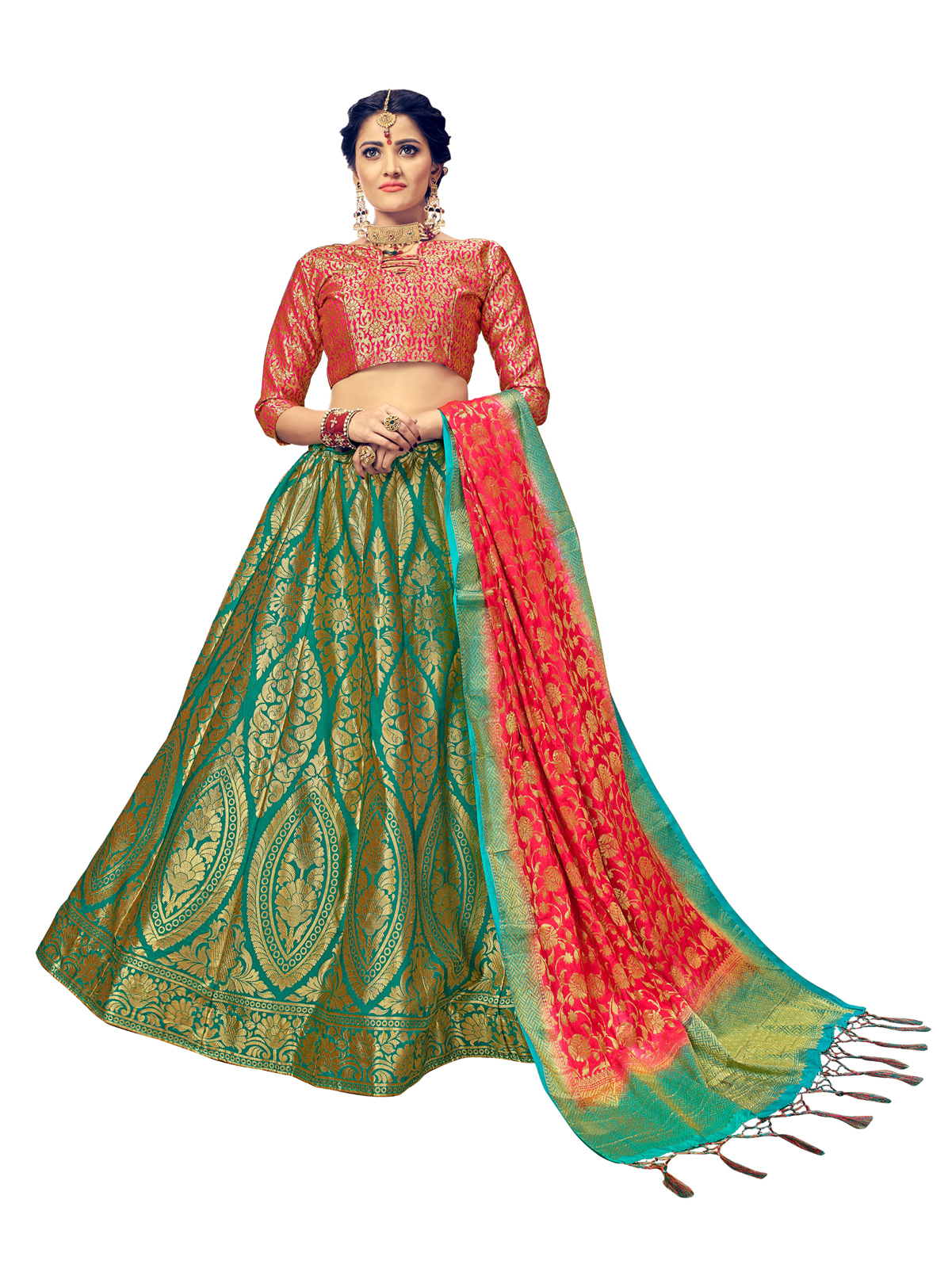 cbe3b6589b Green & Pink Jacquard Banarasi Silk Wedding Lehenga Choli With Blouse -  Yadu Nanadan Fashion - 2551535