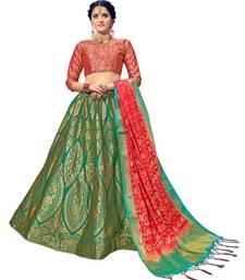 Buy Green & Pink  Jacquard Banarasi Silk Wedding Lehenga Choli With Blouse wedding-lehenga online