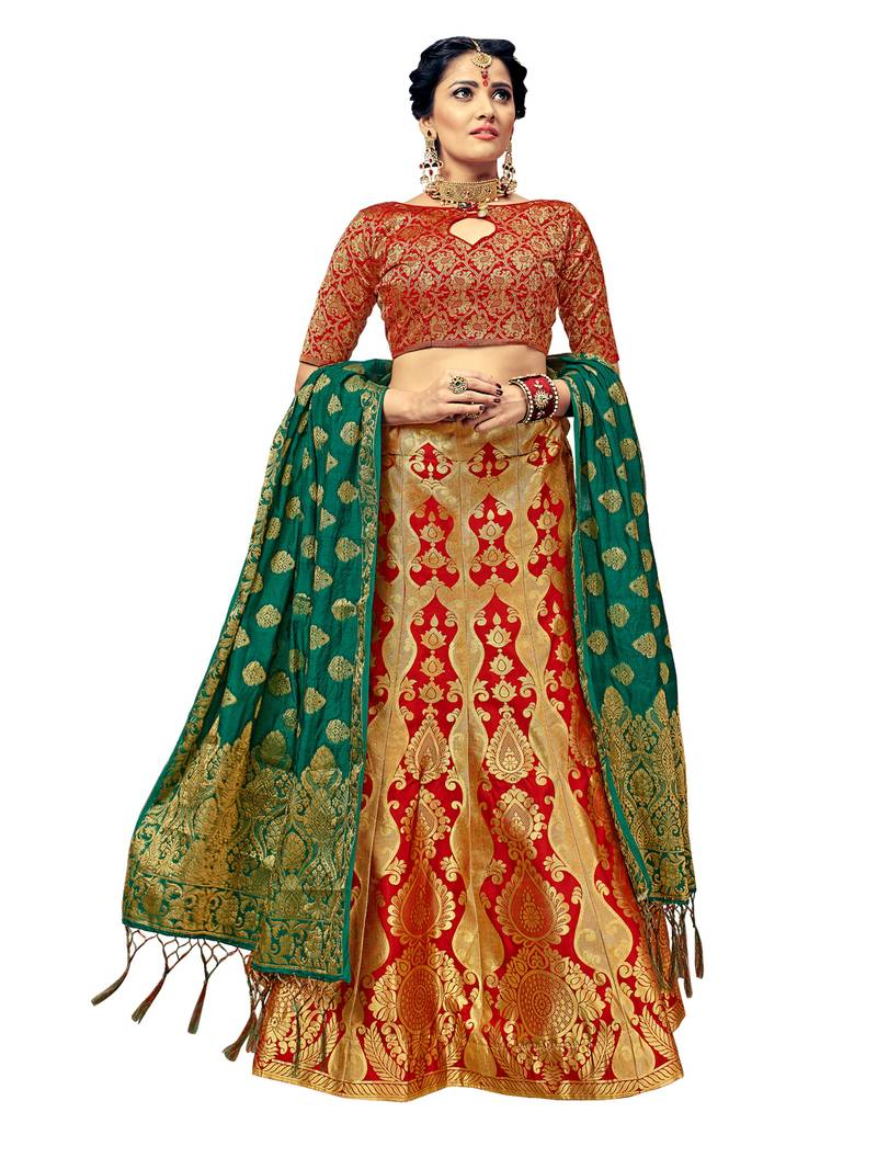 Emerald green navy blue marron banarsi brocade indian wedding lehenga skirt with embroidered silk choli blouse custom made lengha choli