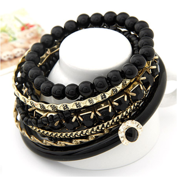 Black Ocean Beads Multilayer Bangles Set(CFB0069)