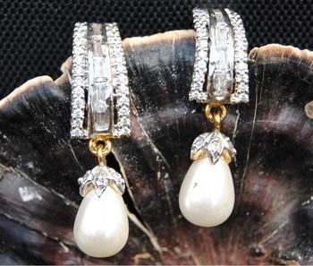 AMERICAN DIAMOND PEARL DROP EARRINGS