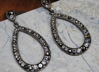 CRYSTAL STUDDED DIAMOND DANGLER EARRINGS