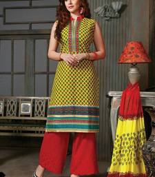 Buy Yellow and Red Cotton Work UnStitched Palazzo Suit with Dupatta palazzo online