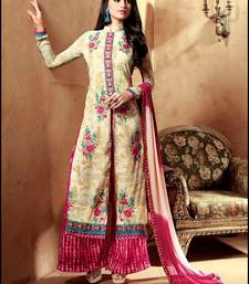 Buy Ivory and pink exclusive fancy designer semi stitched georgette palazzo suit with dupatta palazzo online