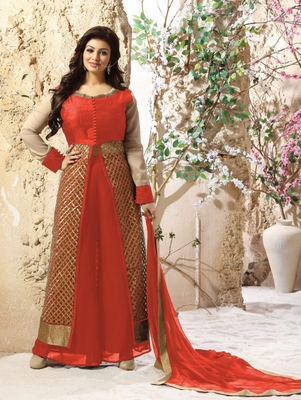 6c2dbe8b60 Tomato red and golden pure silk party wear semi stitched palazzo suit with  dupatta - Zoharin - 2552112