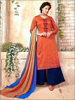 a2a9d20021 Brown latest designer cotton satin unstitched palazzo suit with dupatta -  Zoharin - 2552115