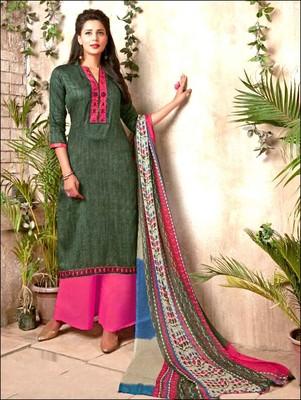 aa1e81bb01 Dark green designer cotton satin unstitched palazzo suit with dupatta -  Zoharin - 2552116