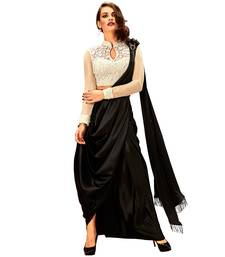 Buy Black and White satin stone Work with Stitched blouse designer saree pre-stitched-saree online