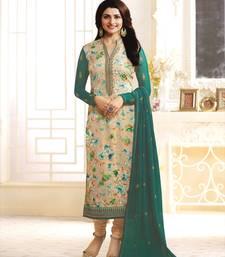 Buy green and beige georgette  semi stitched salwar with dupatta anarkali-salwar-kameez online