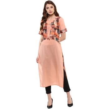 peach plain cotton  kurti