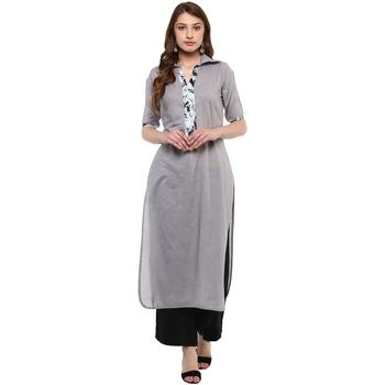 grey plain cotton  kurti