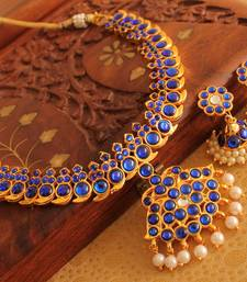 Beautiful Gold Plated Blue Mango Temple Necklace Set