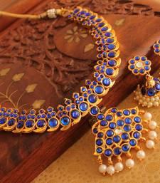 Buy Beautiful Gold Plated Blue Mango Temple Necklace Set  necklace-set online