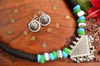 Metallic Oxidised Pendant Bright Colourful Thread Work Necklace Set With matching Jhumka