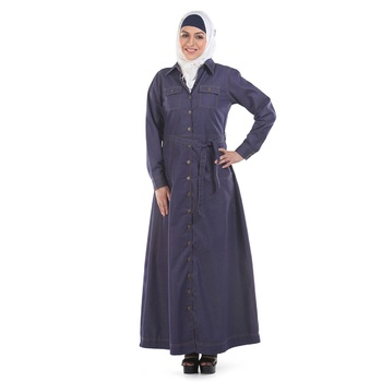 Blue Denim Islamic Look Arabian Style Daily Wear For Women Long Abaya