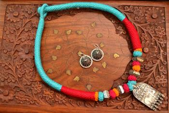Metallic Oxidised Pendant Bright Colourful Thread Work Necklace Set With matching Jhumka