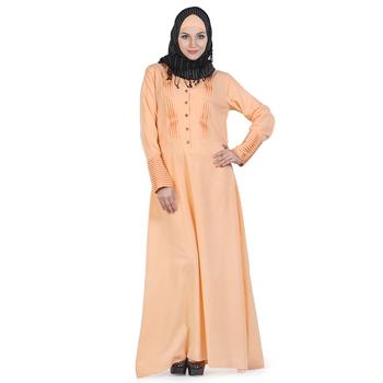 Peach Crepe Islamic Look Arabian Style Daily Wear For Women Long Abaya