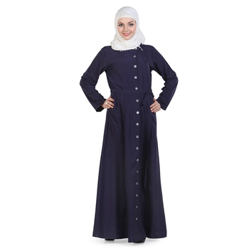 Blue Crepe Islamic Look Arabian Style Daily Wear For Women Long Abaya