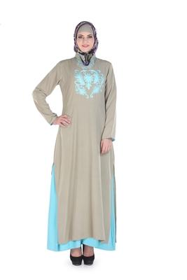 Grey Polyester Islamic Look Arabian Style Daily Wear For Women Long Abaya