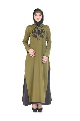 Green Polyester Islamic Look Arabian Style Daily Wear For Women Long Abaya