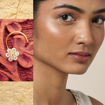9 Diamond Designer Floral Red Nose Pin