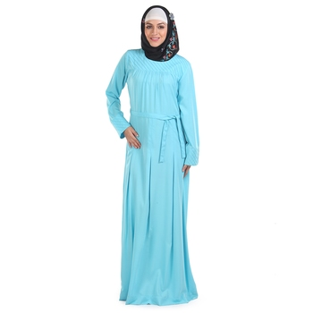 Blue Polyester Islamic Look Arabian Style Daily Wear For Women Long Abaya