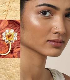 9 Diamond Designer Floral Yellow Nose Pin