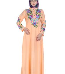 Peach Polyester Islamic Look Arabian Style Daily Wear For Women Long Abaya