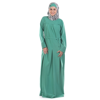Green Polyester Islamic Look Arabian Style Daily Wear For Women Long Abaya