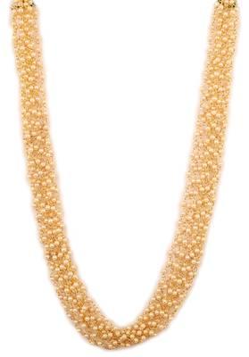 Simple Light Weight Elegant Golden Kundan Embellished Necklace Set with Earrings