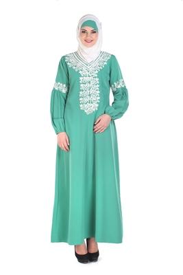 Green Kashibo Islamic Look Arabian Style Daily Wear For Women Long Abaya