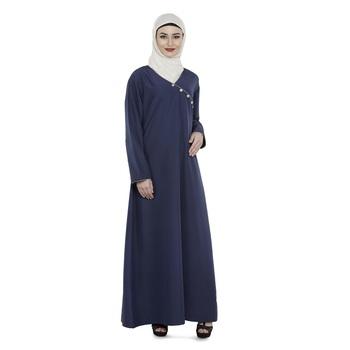 Blue Polyester Daily Wear Islamic Look Arabian Style For Women Long Abaya