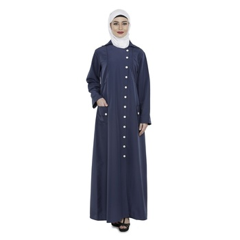 Blue Polyester Daily Wear Islamic Look Arabian Style For Women Long Abaya