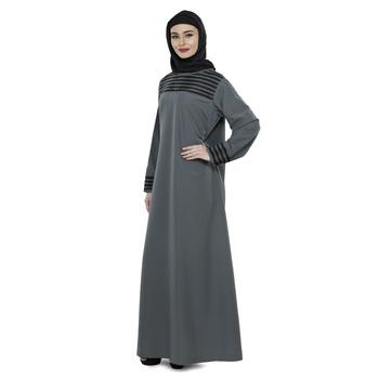 Grey Polyester Daily Wear Islamic Look Arabian Style For Women Long Abaya